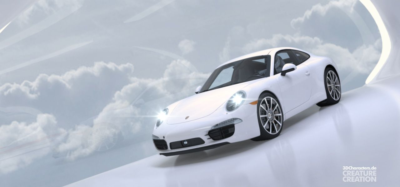Porsche 911 white - 3D Product Visual